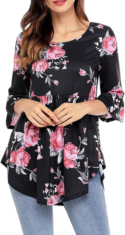 Afibi Women's Floral 3 4 Sleeve TShirt Pleated Blouse Ruffle Hem TShirts