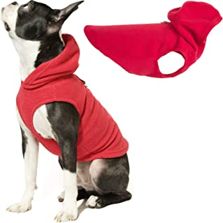 Gooby - Fleece Vest Hoodie, Small Dog Pull Over Hooded Fleece Jacket with Leash Ring, Red, X-Small
