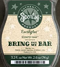 Scentsy Bar, Eucalyptus, Rare/Discontinued Scent, Wickless Candle Tart Warmer Wax 3.2 Fl. Oz. 8 Squares