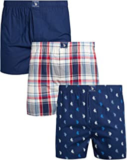 U.S. Polo Assn. Men's Woven Boxer Underwear with Functional Fly (3 Pack)
