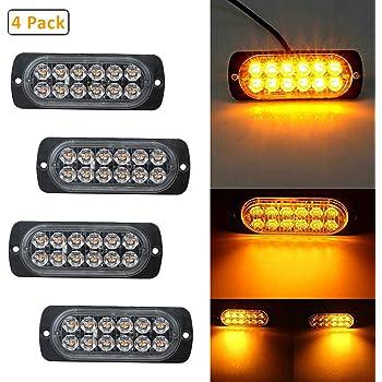 LED Gledto Frontblitzer Warnleuchte Straßenräumer Rundumleuchte Blinkleucht Gelb