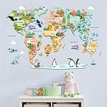 decalmile Pegatinas de Pared Mapa del Mundo Animales Vinilos Decorativos Niños Educativos Adhesivos Pared Bebés Guardería Dormitorio Salón de Clases