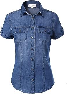 Women's Cap Sleeve Button Down Denim Chambray Shirt