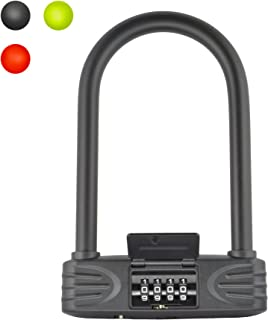 Lumintrail 16mm Heavy Duty 4-Digit Bicycle Bike Combination U-Lock with Optional 7ft Cable - Assorted Colors