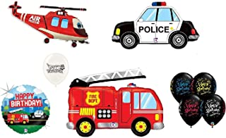 Rescue Team Ambulance Fire Truck Police First Responders Themed Birthday Party Balloon Bouquet Bundle