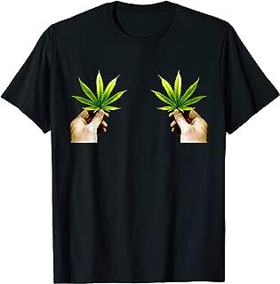 Marijuana Leaf Boob Funny Pot Weed Leaves Christmas Bikinis T-Shirt