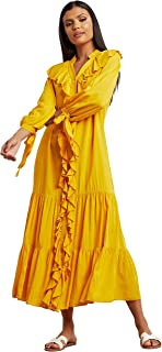 Ruffled Modest Maxi Women's Dress with Full Button Closure