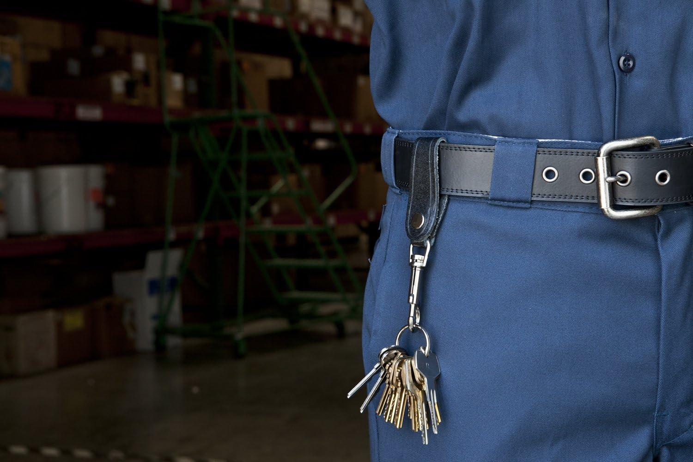 KEY-BAK Leather Strap Bolt Snap Key Chain Accessory with 1.125 inch Split Ring, Black
