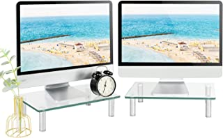 Rfiver Clear Tempered Glass Monitor Stand Riser Tabletop 2 Pack, Dual Multi Media Desktop Stand for TV/Computer/Laptop/Not...