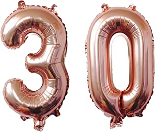 TRIXES Number 30 Foil Balloon – Jumbo Size 40-inch Party Decoration Supplies –Photo Props - for Birthdays Anniversaries – Rose Gold