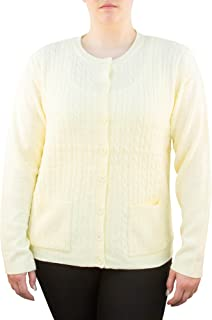Knit Minded Long Sleeve Two Pocket Cable Knit Button Down Cardigan Sweater