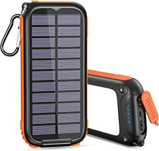 Solar Charger 26800mAh USB C Solar Power Bank with 3 Outputs LED Flashlight Portable Phone Charger for iPhone Samsung Tablet