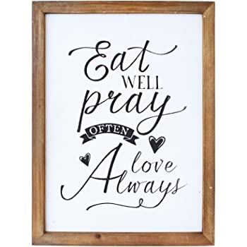 NIKKY HOME Wood Framed Wall Art Print with Inspirational Quote Faith Makes Things Possible Not Easy