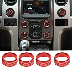 Voodonala for Ford F150 Air Conditioner Switch CD Button Knob for F150 2013 2014(Aluminum Alloy Red)