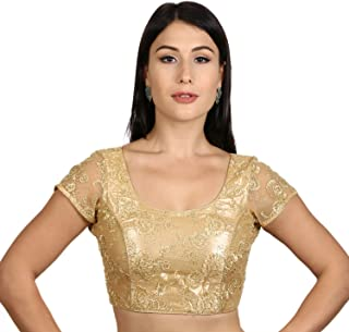 Neckbook Womens Back Open Art Silk Net Short Net Sleeves Princess Cut Padded Readymade Saree Blouse(C109)