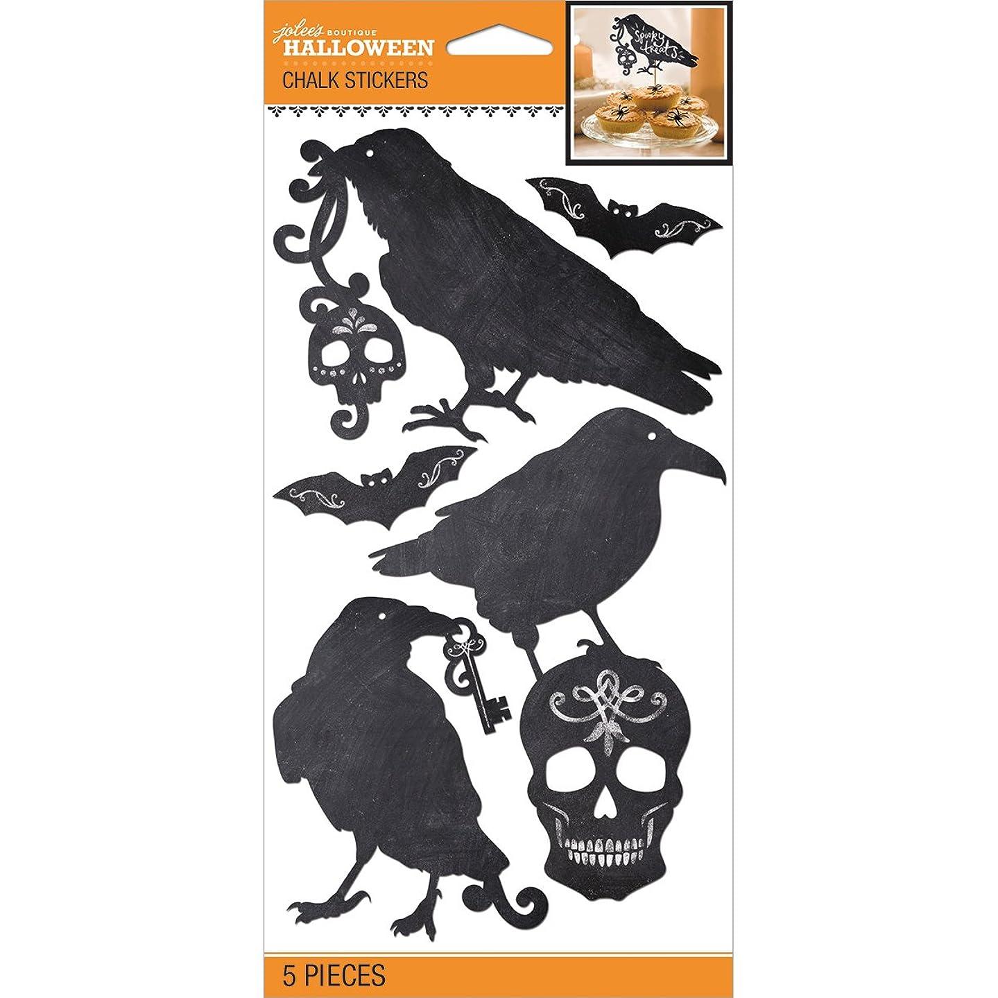 JOLEES Halloween Chalk Silhouette Stickers (5 Pack), Black/White