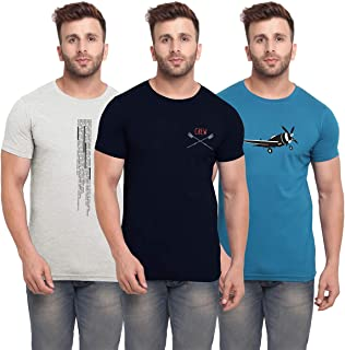 BULLMER Mens Halfsleeve Round Neck Printed Cotton Tshirt - Combo Tshirt - Pack of 3