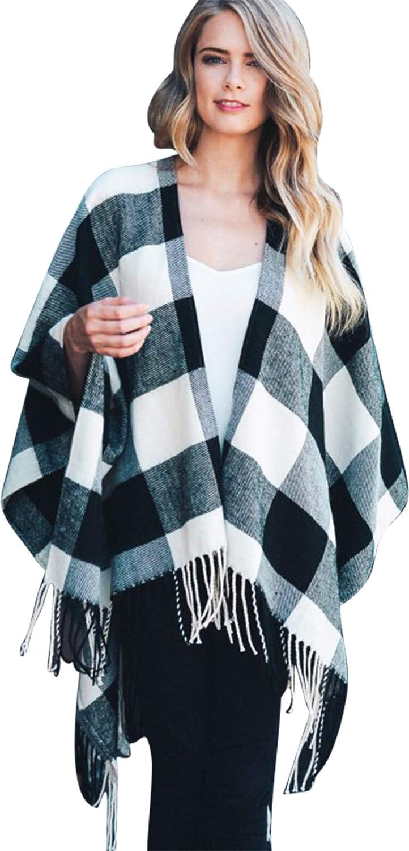 Daisy Del Sol Woven Knit Buffalo Plaid Checkered Wrap Oversized Blanket Sweater Poncho Ruana
