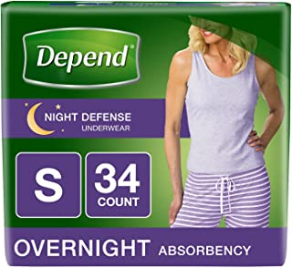 Depend Night Defense Incontinence Overnight Underwear for Women, Small, 34 Count