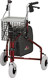 "NOVA Traveler 3 Wheel Rollator Walker, All Terrain 8"" Wheels, Includes Bag, Basket and Tray, Red"