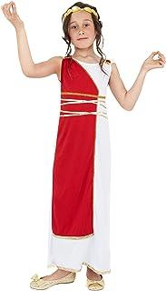 Smiffy'S 38775M Disfraz De Niña Griega Con Túnica Y Adorno Para La Cabeza, Rojo, M - Edad 7-9 Años