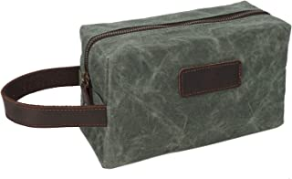 Men's Bag Men's Clutch Oil Wax Canvas Wash Bag Retro Male Bag Wash Bag Wrist Bag (Color : Bronze, Size : S)
