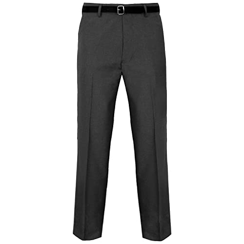 Mens BIG PLUS Size Trousers BLACK Casual Formal work Office Pants Waist 30-50