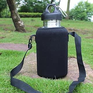 khkadiwb Pouch & Climbing & Hiking Equipment2L/2000ml Travel Stainless Steel Tea Water Bottle Carrier Insulated Bag Holder - Black