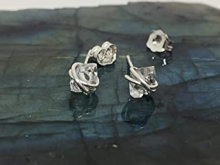 Herkimer Diamond Stud Earrings X Small Size 5-6MM Sterling Silver Wire and Backings, Dainty Herkimer Stud Herkimer Jewelry