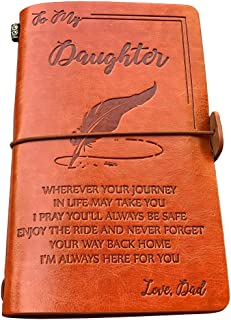 To My Daughter Leather Journal from Dad - Enjoy the Ride and Never Forget the Way Home Notebook - 120 Page Travel Diary Jo...