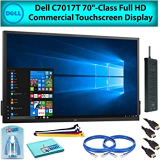 Dell C7017T 70 Inch Class Full HD Commercial Touchscreen LED Display Monitor for Office Meetings Advanced Bundle with Cleaning Kit, 2-Ethernet Cables, 2-HDMI Cables, Velcro Wire Ties, Surge Protector