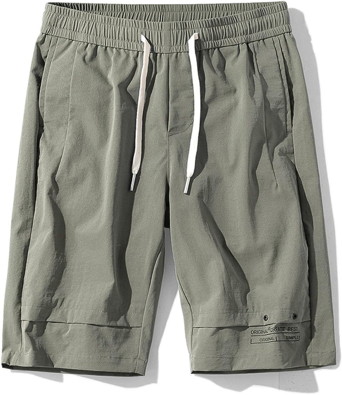 Segindy Men's Elastic Waist Sports Shorts Summer Fashion Solid Color Loose Comfortable