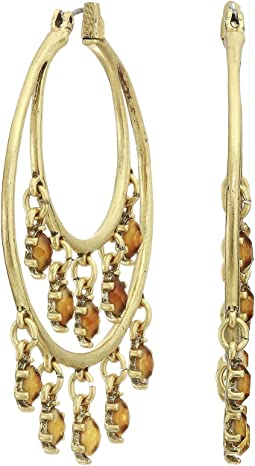 Citrine Dangle Hoop Earrings