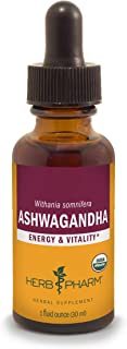 Herb Pharm Certified Organic Ashwagandha Extract for Energy and Vitality, Organic Cane Alcohol, 1 Ounce, Default (00907000...