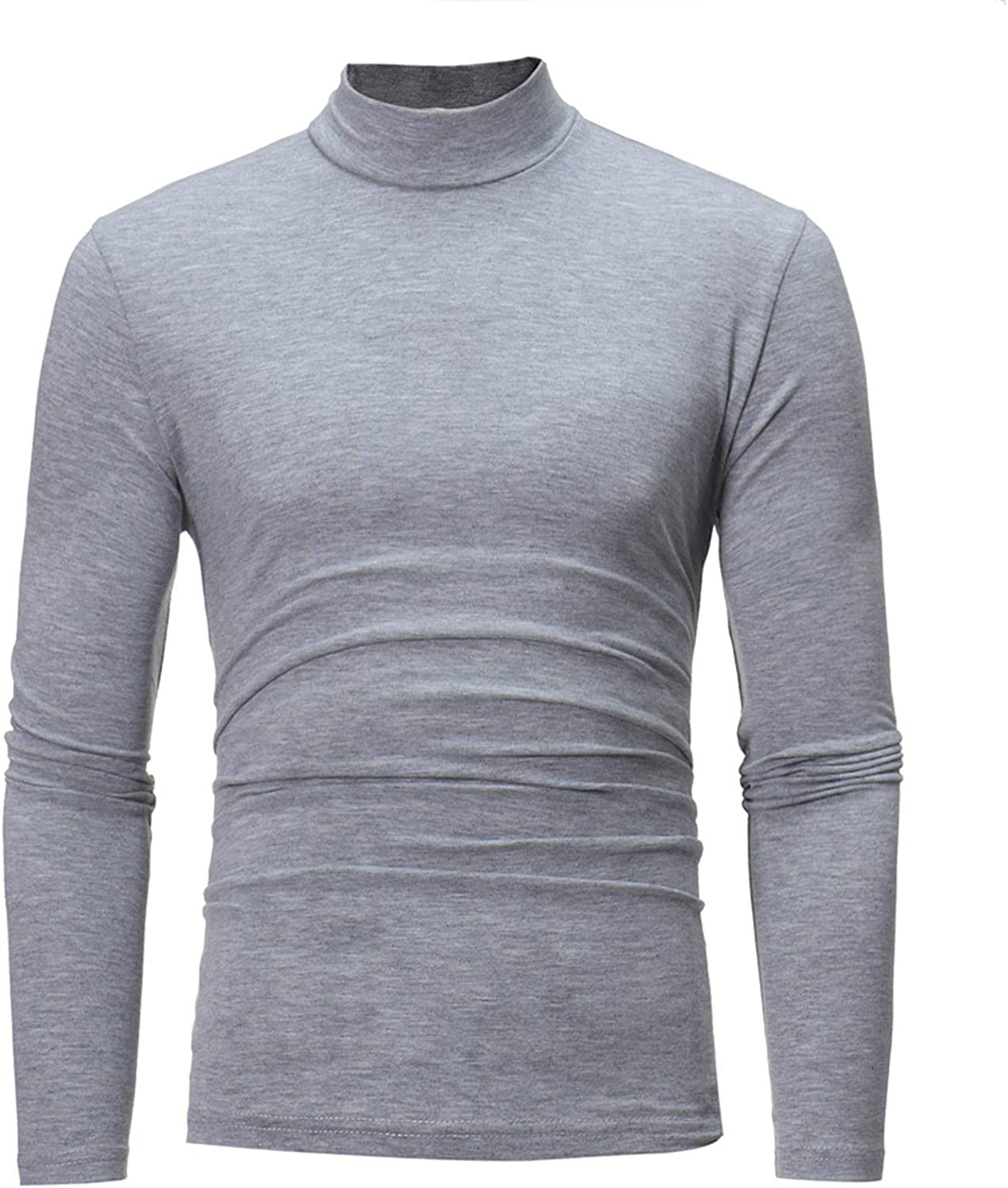 eipogp Men's Mockneck Pullover Shirts Casual Long Sleeve Slim Fit Tee Shirts Base Layer Thermal Tops