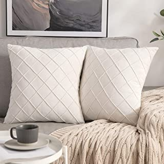 MIULEE Velet Throw Pillow Cover Decorative Square Soft Solid Pillowcase Plaid 18 X 18 Inch Cream White Couch Pillows Set o...