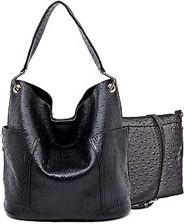 Handbag Republic Ostrich Embossed Hobo w/Side Pockets + Inner Bag Crossbody