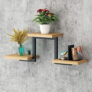 Los estantes flotantes Estantes de la pared de madera rústica Estantes de swing Imagen de la plataforma de almacenamiento ...