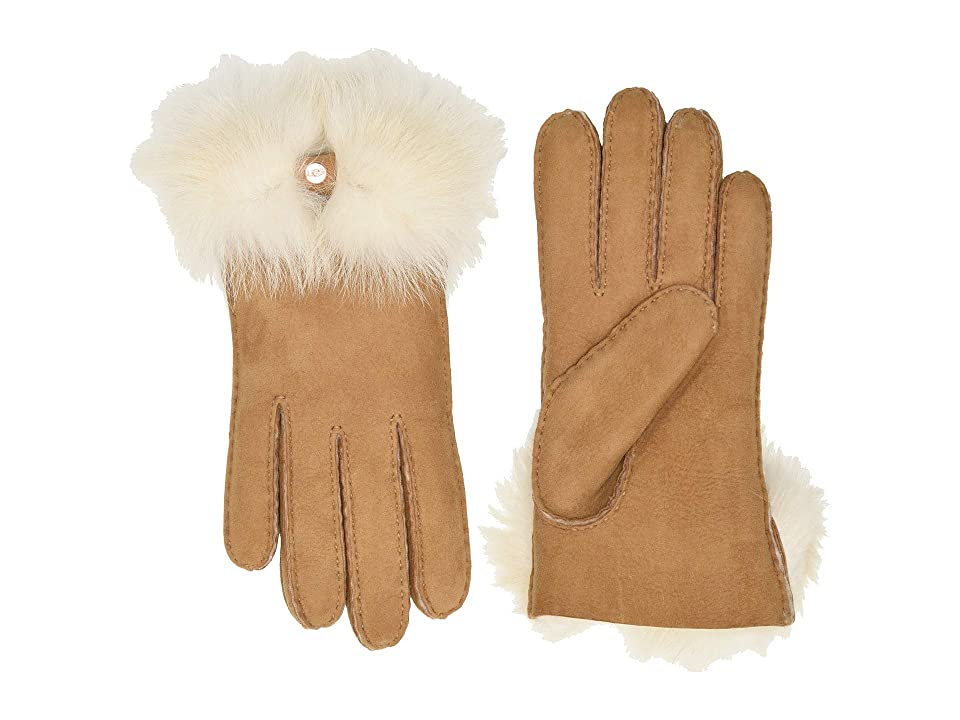 UGG Long Pile Bow Water Resistant Sheepskin Gloves (Chestnut) Extreme Cold Weather Gloves