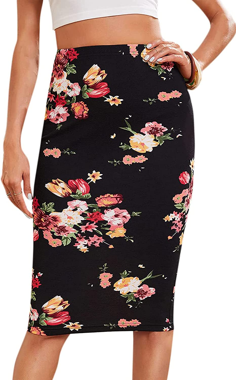 Milumia Women's Elegant Floral Print Elastic High Waisted Bodycon Pencil Skirt