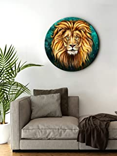 999Store small frames for wall decor room office Lion Face Brown Color Round Shape wall art painting wall hanging (MDF_11X...