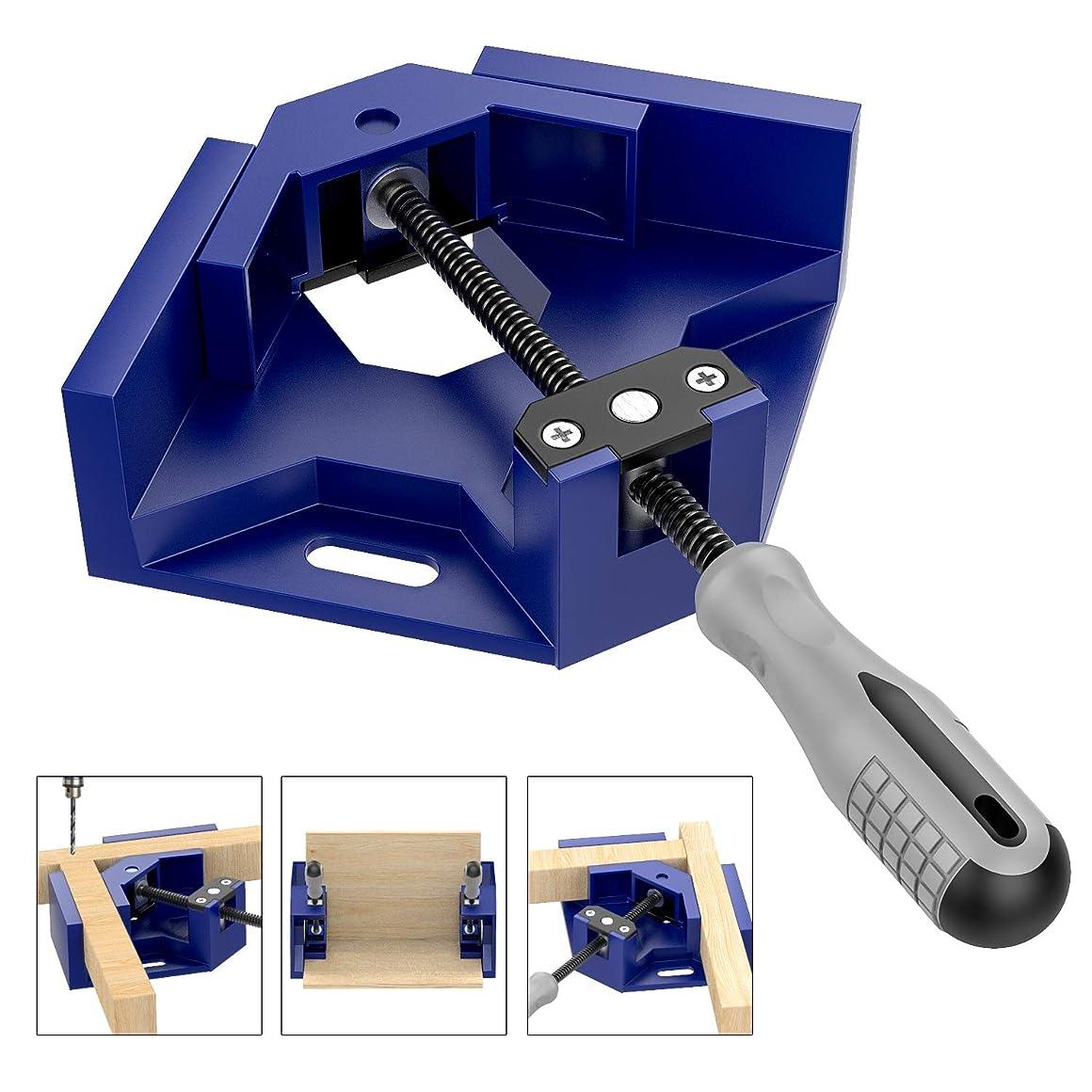 Housolution コーナークランプ 90度 木工用 溶接 直角固定 額縁 フレーム 固定板幅 70mm以下 - Blue…