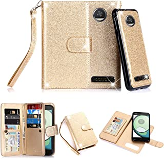 TabPow Moto Z Play Droid Case, 10 Card Slot - [ID Slot] Wallet Folio PU Leather Case Cover with Detachable Magnetic Hard Case for Motorola Moto Z Play Droid (2016) - Glitter Gold