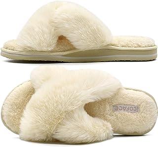 COFACE Pantofole Donna Ciabatte Donna in Pelliccia Finta sandali Croce Pelose in Peluche Morbido Pantofole da Casa Piatte ...