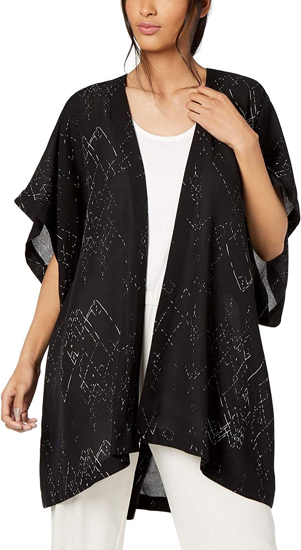 Eileen Fisher Womens Small Open Front Printed Kimono Blacks