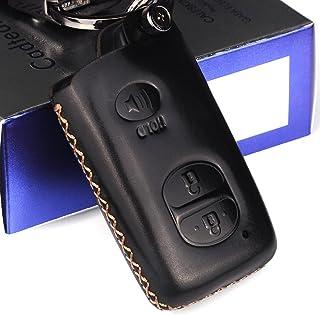 Cadtealir Schlüsselanhänger, saugfähig, Kalbsleder, echtes Leder, für Toyota Highlander 4Runner Rav4 Venza Prius Sequoia Yaris Avalon Camry Corolla Tacoma Alphard Land Cruiser chr