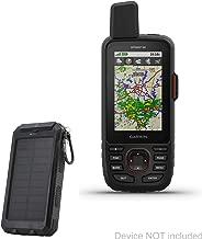 Garmin GPSMAP 66i Battery, BoxWave [Solar Rejuva PowerPack (6000mAh)] Solar Powered Backup Power Bank for Garmin GPSMAP 66i - Jet Black