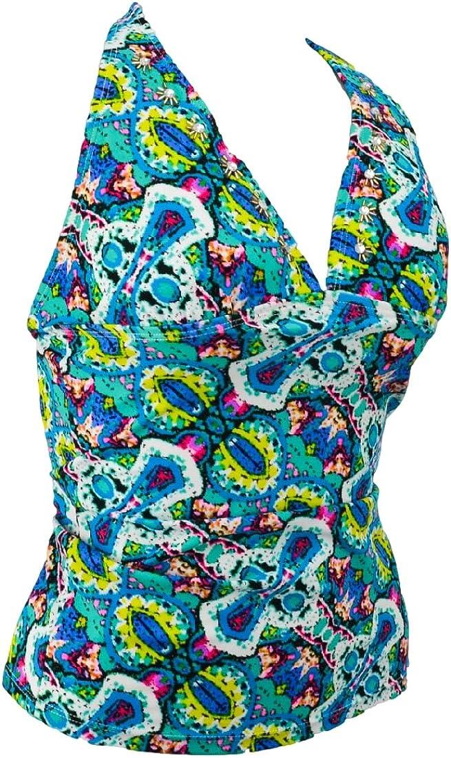 Mudd Girls Swimwear Halter Tankini Top Spaghetti Strap, Stones Multicolored