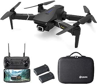 EACHINE ドローン カメラ付き GPS搭載 4K 広角HDカメラ 5G WIFI FPV 最大飛行時間32分 バッテリー2個 フォローミーモード リターンモード 自動的に高度維持 空撮 おりたたみ式 収納ケース付き ブラック 国内認証済み E520S