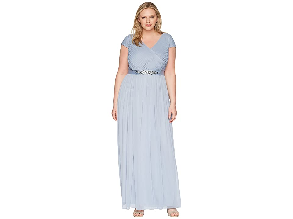 Adrianna Papell Plus Size Long Shirred Dress (Dusty Periwinkle) Women